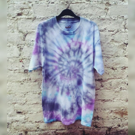Mens Tie Dye T Shirt Purple Blue Black Hippie Shirt All