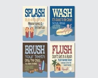 "ON SALE Childrens Kids Bathroom Art Prints Set of (4) 5"" x 7"" or 8"" x 10"" Surf Board Theme // Fine Art Home Decor- UNFRAMED"
