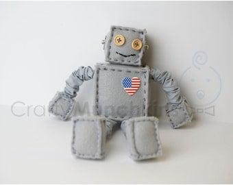 Grey USA Plush Felt Robot