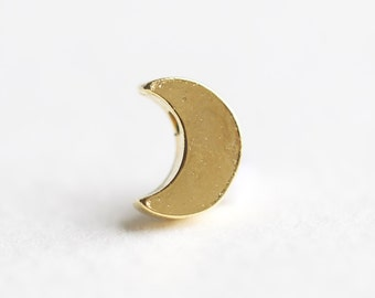 Vermeil Gold Thick Crescent Moon Charm - 18k gold plated over 925 silver, half moon crescent side drilled pendant