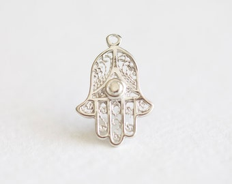 Hamsa Hand Sterling Silver Charm - 925 sterling silver, good luck, fortune, happiness, health, fatima, protection, hand charm