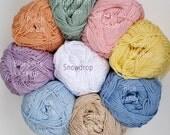 Mercerised Cotton Yarn in one each of 9 Pastel Colours - 50g balls plus 3mm hook - Crochet/Knitting/Amigurumi
