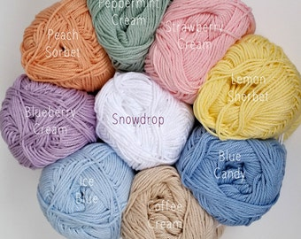 Mercerised Cotton Yarn in one each of 9 Pastel Colours - 50g balls plus 3mm hook - Crochet/Knitting/Amigurumi