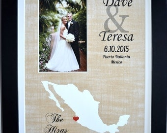 1st anniversary gift for couple, newlywed gift, 1st anniversary gift for husband, any state, personalized gifts for men, mexico board art