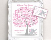 Baby Shower Guest Book - 16x20 Sign-In Tree Poster -ELEPHANT Theme Baby Shower Guest Book Alternative - 100 leaves - READ DESCRIPTION