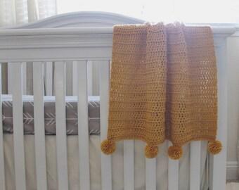 Blanket Infant, Baby, Toddler : Mustard Yellow Crochet Pom
