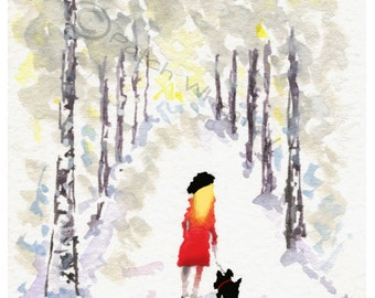 Scottish Terrier Dog, Art Print 'Winter Walk' 8X6 inch #52