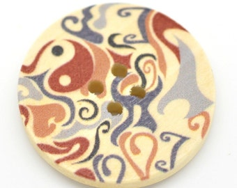 5 Floral (Design 21) Painted Wood Button Four Hole Natural Wood Colour 30mm Pack of 5 NPB39