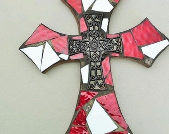 Mosaic cross,red and white mosaic stained glass cross,mosaic wall hanging,decorative cross