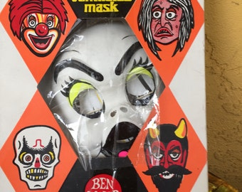"""Vintage 1970s Ben Cooper Halloween Costume With """"Ventilated Mask!!""""  Still With Original Box!"""