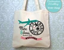 Destination Welcome Wedding Bag, Design Proof Only, Wedding Tote Bag, Passport Stamp Bag, Wedding Favor, Customized Wedding Bag, Welcome Bag