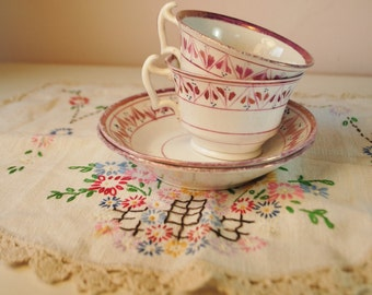 FRIENDSHIP SET tea cup lavender pink set with doily teacup handpainted Bone China Tea cup saucers afternoon tea with that lovely girlfriend