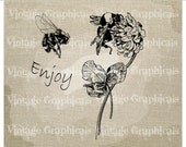 Bees clover enjoy Instant clip art graphic digital download image for iron on fabric transfer burlap pillow Decoupage Papercraft No gt372
