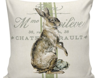 Easter Pillows, Bunny Pillows, Easter Decor, Burlap Pillow Cover, French Pillows, Sofa Pillows, Couch Pillow, Cushion Covers, #EHD0111
