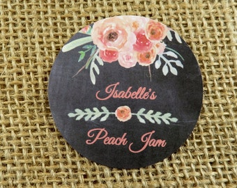 "Personalized Canning Labels - Coral/Peach Watercolor Floral Design Background Choice - Food Gifting - ANY OCCASION - 20 - 2"" Circles - wfcp"