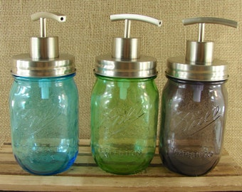 NEW - All Stainless Steel Mason Jar Soap Pump - Choose Your Jar Color - Mason Jar Lotion Pump
