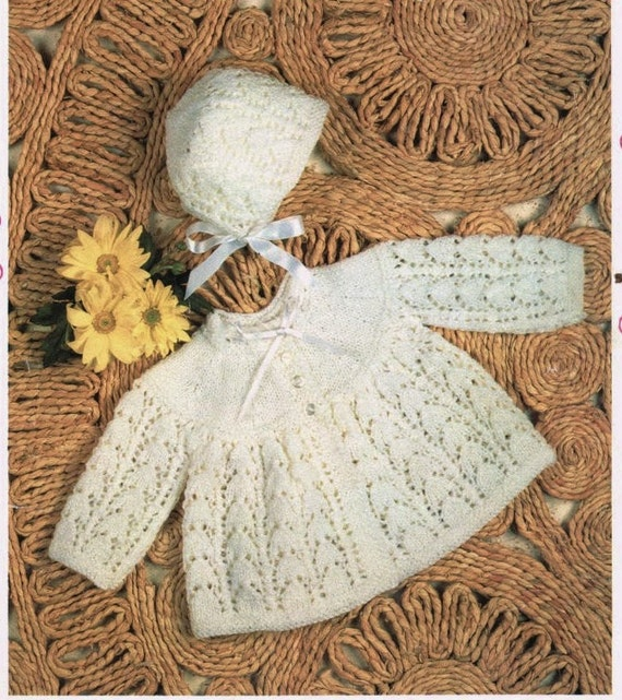 Knitting Pattern Baby Chest Sizes : baby knitting pattern matinee jacket and bonnet size 17/19