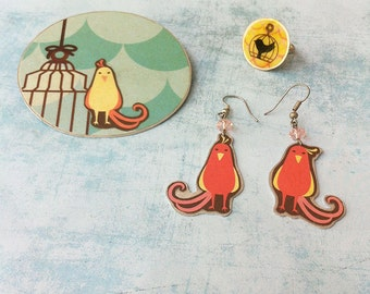 Bird Jewelry set Brooch, earrings & Ring - paper jewelry - bird and cage - adjustable ring - bird earrings dangle and drop -fantasy