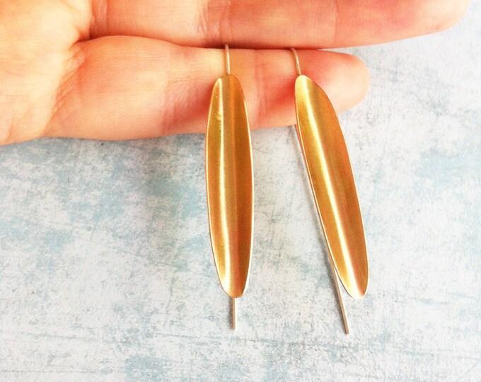 Brass and silver hook earrings - drop and dangle - golden earrings -minimalist earrings -leaf shape earrings -minimal jewelry -long earrings