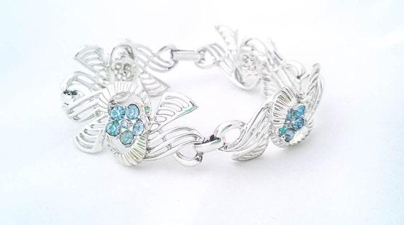 Vintage Handmade silver tone blue rhinestone flower filigree bracelet cuff