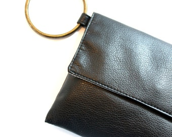 Black Wristlet, Vegan Wallet, Evening Purse, Black Wristlet Purse, Small Handbag, Envelope Purse, Christmas Gifts