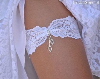 White Bridal Garter, White Garter Set , Lace Garter Set, Lace Garter, White Bridal Garter, Wedding Garters, Rhinestone Garter, Color Garters