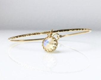 Genuine Moonstone Charm Bracelet / June Birthstone / Mom Jewelry / Gemstone Jewelry / Moonstone Bangle / Gift for Her / Graduation Gift