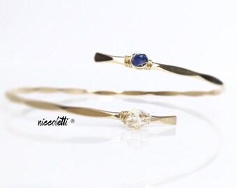 Double Gemstone Bypass Cuff / Herkimer Diamond / April Birthstone Customized Gemstone Bracelet / Gold Filled Bangles / Friendship Bracelet