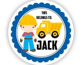 Name Tag Stickers - Blue Yellow, Construction Man Boy, Dump Truck Personalized Name Tag Sticker - Round Tags - Back to School Name Labels