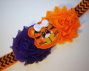 """BABY """"Clemson Tiger"""" Headband Orange and Purple Shabby Flowers  with """"Baby Tiger"""" Embroidered Feltie, Clemson Tiger Baby, Clemson Baby Gift"""