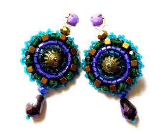 Bead embroidered earrings - Estera