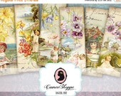 75% OFF SALE SHABBY Spring Digital collage Sheet Bookmark Tags Digital Scrapboking download