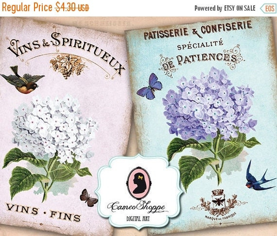75% OFF SALE SHABBY Hydrangea DIgital Collage Sheet Aceo Shabby chic Vintage Large images Scrapbooking