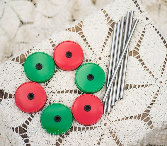 Christmas Set of 6 Red & Green Mason Jar Lids And Stainless Steel Straws Tumbler DIY Weddings, Parties, Everyday Use