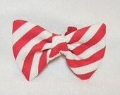 Pets stripy bow tie Red and white striped bow Dog bowtie with red and cream white stripes Dog collar accessory for medium large dog ( L)