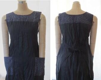 Women's wrap dress, Traditional Japanese print, Indigo Linen,  Handmade, Linen Clothing, Pinafore, Jumper, Apron, Maternity, Japanese print