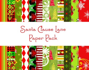 Here Comes Santa Clause Digital Paper Pack