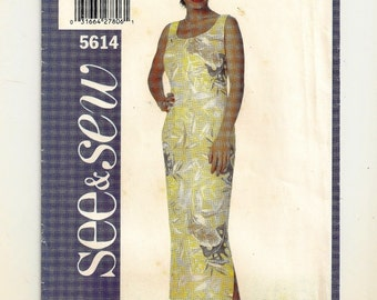 A Very Easy Sew, Close-Fitting, Sleeveless, Straight Long Dress Pattern for Women: Uncut - Sizes 6-8-10 ~ See & Sew (Butterick) 5614