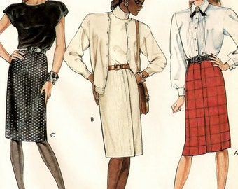 "A Back Zip, Side or Center Pleat, Side Slit Straight Skirt Pattern: Uncut - Sizes 10-12-14, Waist 25"" - 28"" • McCall's 3468"