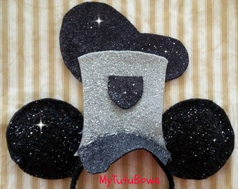 NEW ITEM Minnie Mouse Ears Headband Steamboat Willie Vintage Dapper Retro Big Hat Glitter Sparkle Fits Adults and Children