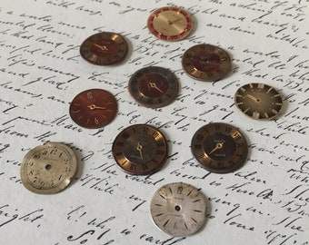 10 vintage watch faces // steampunk supplies // watch parts (lot f)
