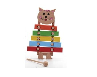 Wooden xylophone, wooden cat, educational wooden toy, kids animal toy, wooden toys, eco friendly toy, organic wooden toy, natural wood toy
