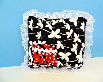 Black White and Red Tooth Fairy Pillow, Girls Room Decor, Mini Pillow