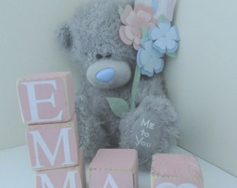 Personalised Wooden Name Blocks New Baby, Christening, Nursery Gift