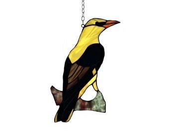 Bird gift. Bird decoration. Stained glass bird - tiffany glass bird. A stained glass suncatcher. Bird decor.