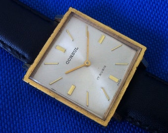 Gold Plated Men's Vintage Watch, Consul, Girard Perregaux, Yellow Gold Plate, Swiss Watch, 17 Jewels, Leather Band, FREE SHIPPING