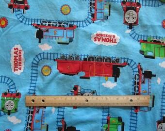 Blue Thomas Train Railroad Tracks Fabric by the Yard