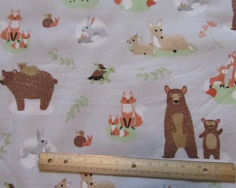 Gray Mommy and Me Woodland Animal/Fox/Bear/Deer Flannel Fabric by the Yard