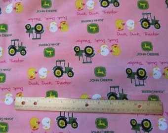 Pink John Deere Tractor/Ducks  Cotton Fabric by the Yard