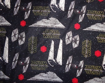 Black Star Wars Ship Cotton Fabric by the Yard